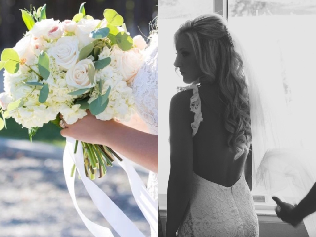 A look at bride Keri's backless Lauren Elaine Aislin wedding gown and floral bouquet.