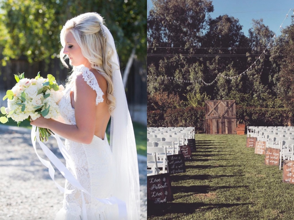 A look at bride Keri's backless Lauren Elaine Aislin wedding gown in Chico, California.