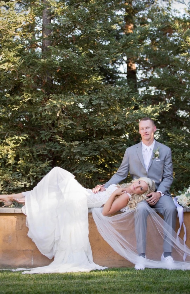 "A romantic and bohemian portrait of bride Keri in her Lauren Elaine ""Aislin"" wedding gown."