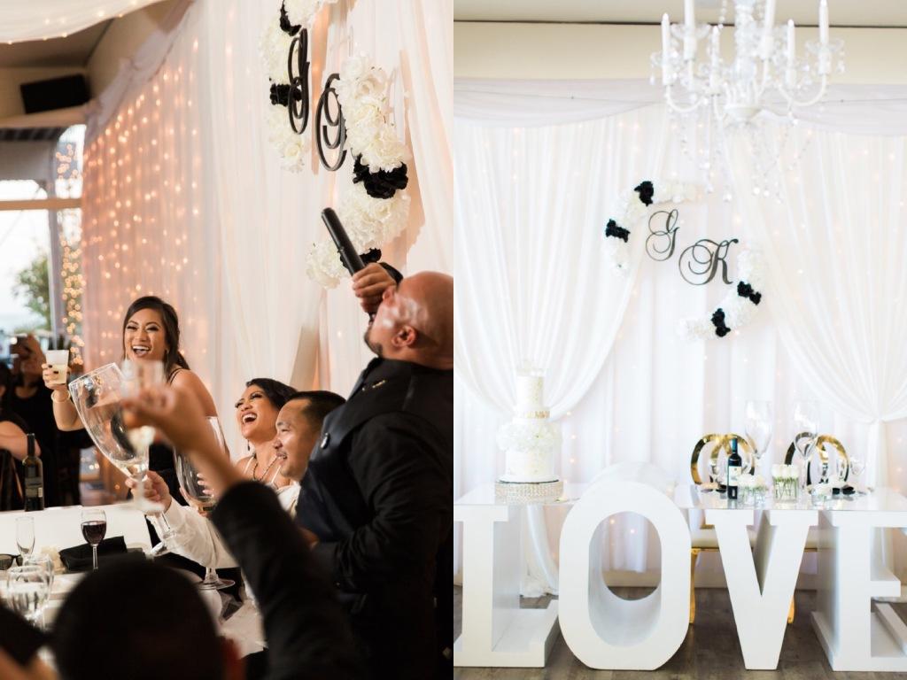 "Bride Kimberly celebrates in her Lauren Elaine ""Arabelle"" gown in Malibu"