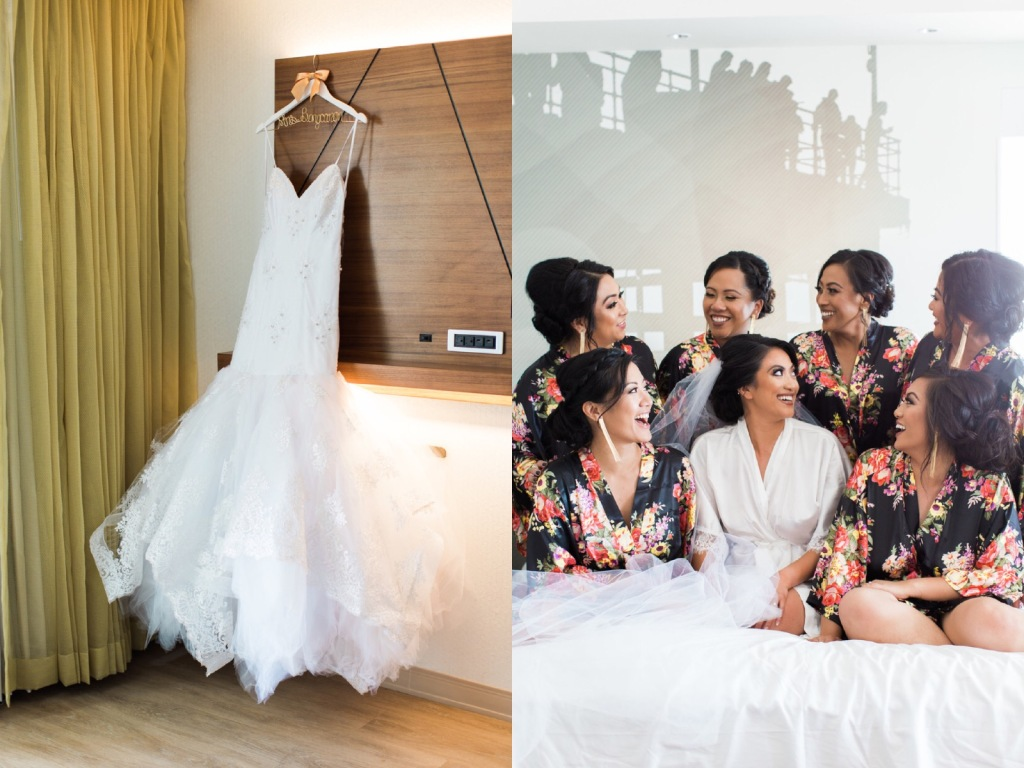 "Bride Kimberly celebrates with her bridal party in her Lauren Elaine ""Arabelle"" wedding gown."