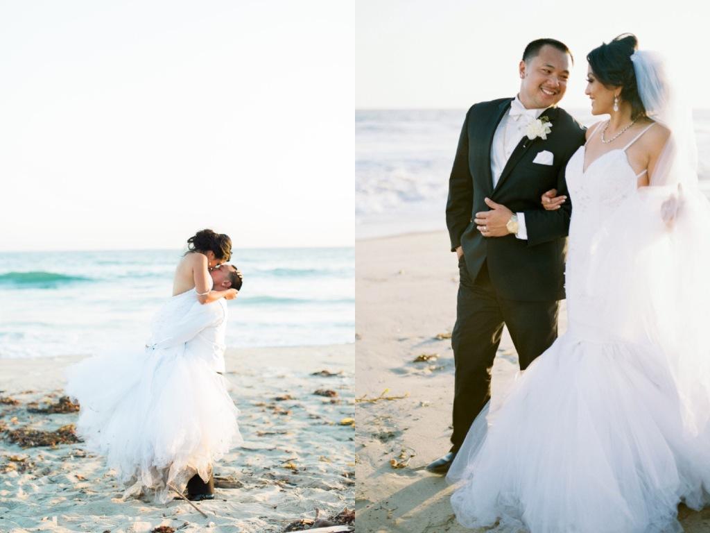Bride Kimberly poses on the beach in Malibu, CA in a custom mermaid wedding dress by Lauren Elaine Bridal.