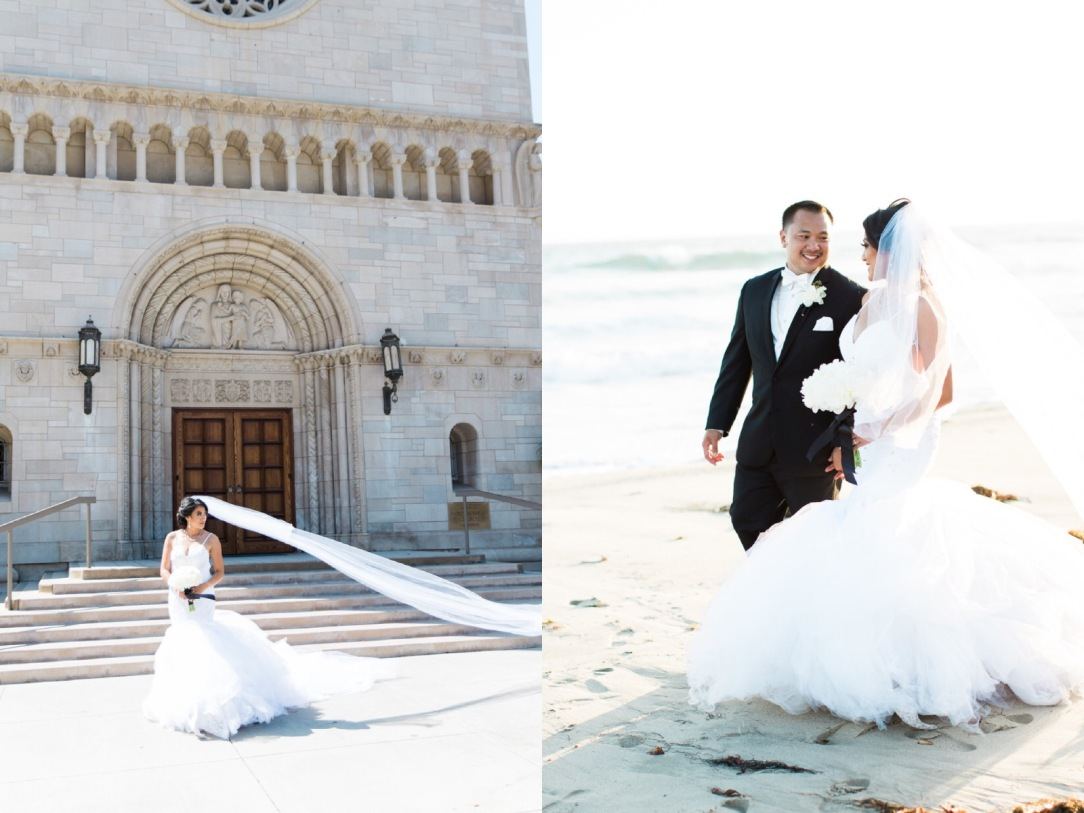 "Bride Kimberly ties the knot in a custom ""Arabelle"" mermaid wedding dress with cathedral train by Lauren Elaine Bridal"