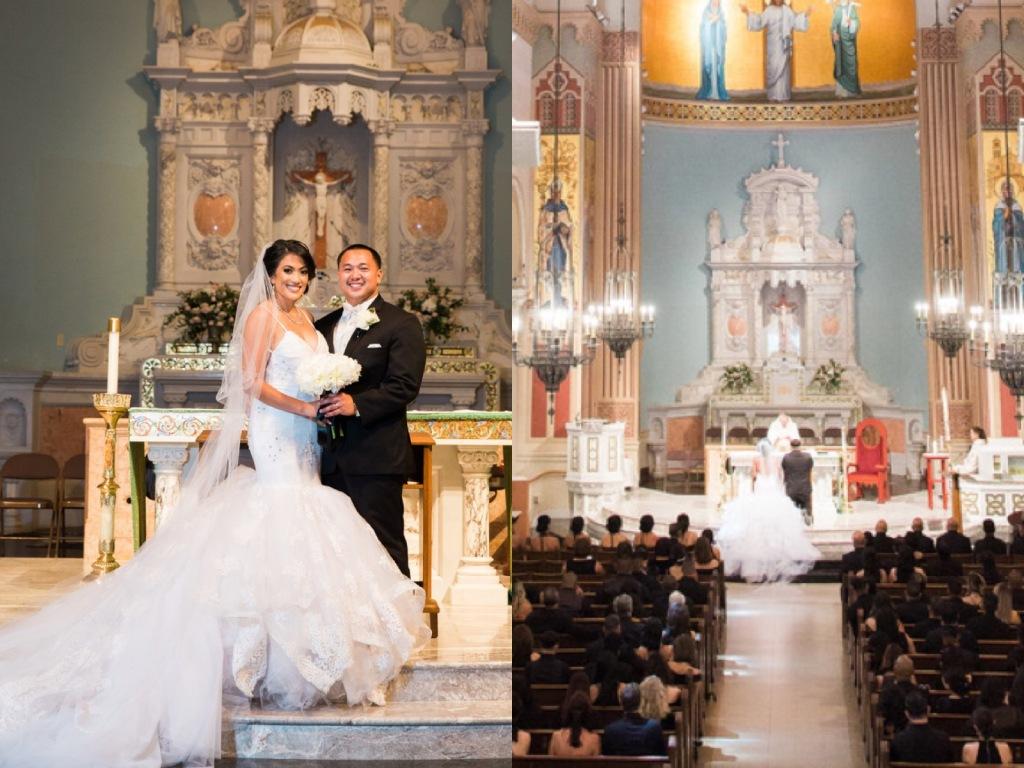 Bride Kimberly wears a custom Arabelle wedding dress by Lauren Elaine Bridal of Los Angeles