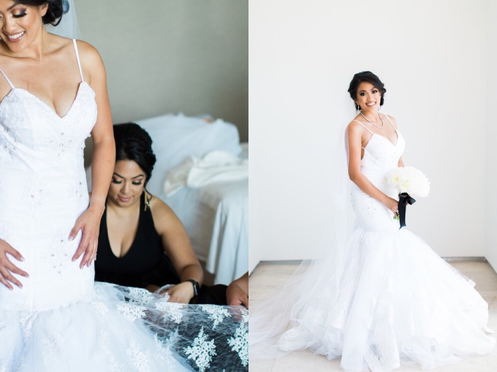 Bride Kimberly gets ready for her wedding in her mermaid gown by Lauren Elaine.