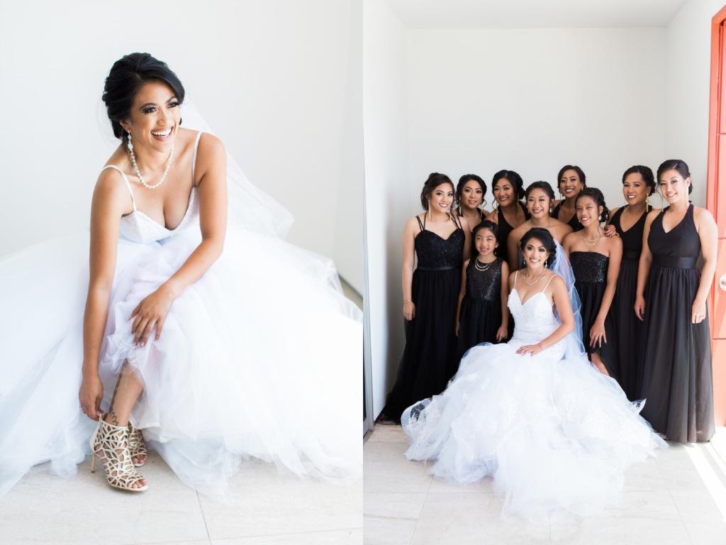 Bride Kimberly poses for portraits in her custom Lauren Elaine mermaid wedding dress.