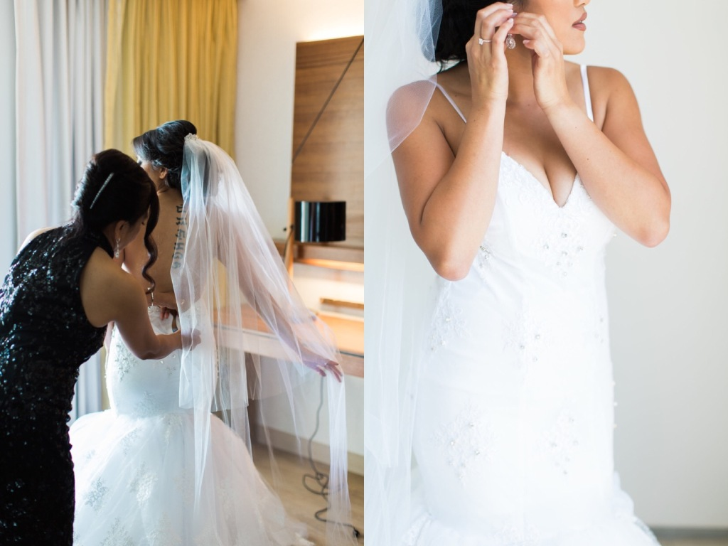 Bride Kimberly gets ready for her Malibu, CA wedding in her Lauren Elaine Bridal gown.