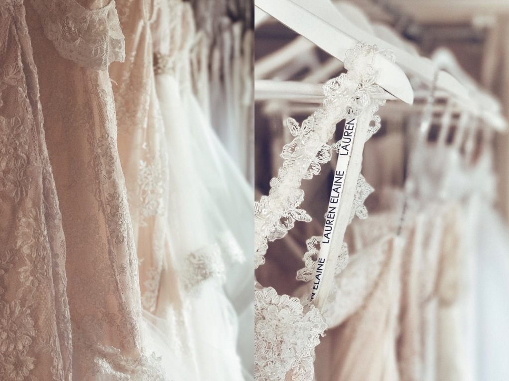 Wedding gowns and bridal dresses on display at the Lauren Elaine Style House Flagship Bridal Salon in Los Angeles.