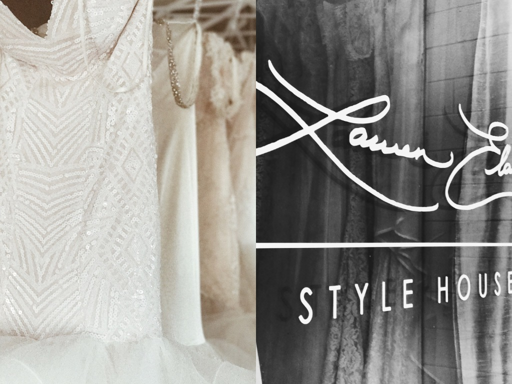 Wedding dresses on display at the Lauren Elaine Flagship Bridal Salon in Los Angeles, CA.