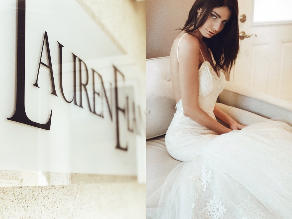 A model poses for a portrait inside the Lauren Elaine Los Angeles Bridal Salon in Burbank, CA.