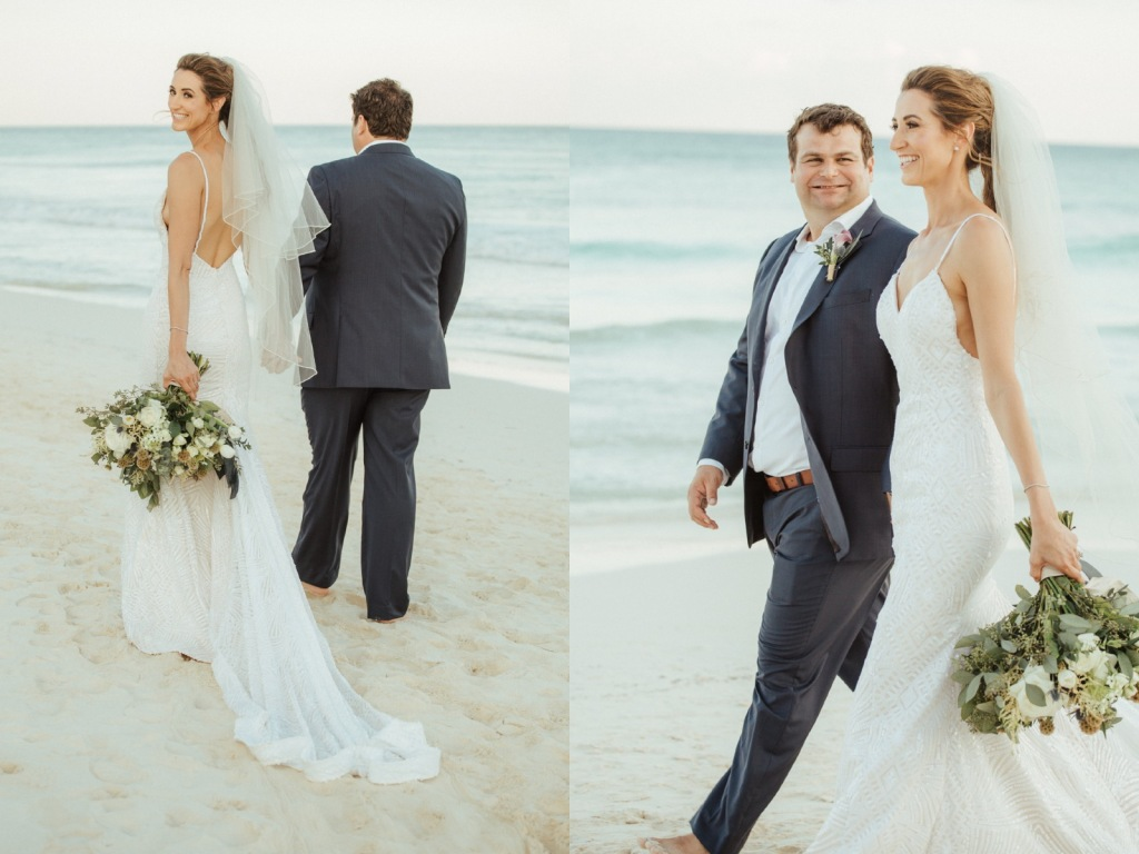 Bride Geniffer wears her backless Lauren Elaine wedding dress with sparkling cathedral train on a beach in Mexico.