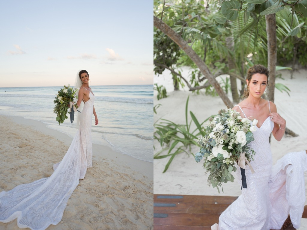Bride Geniffer poses on a beach in Mexico in her custom backless Lauren Elaine wedding dress with 5ft cathedral train.