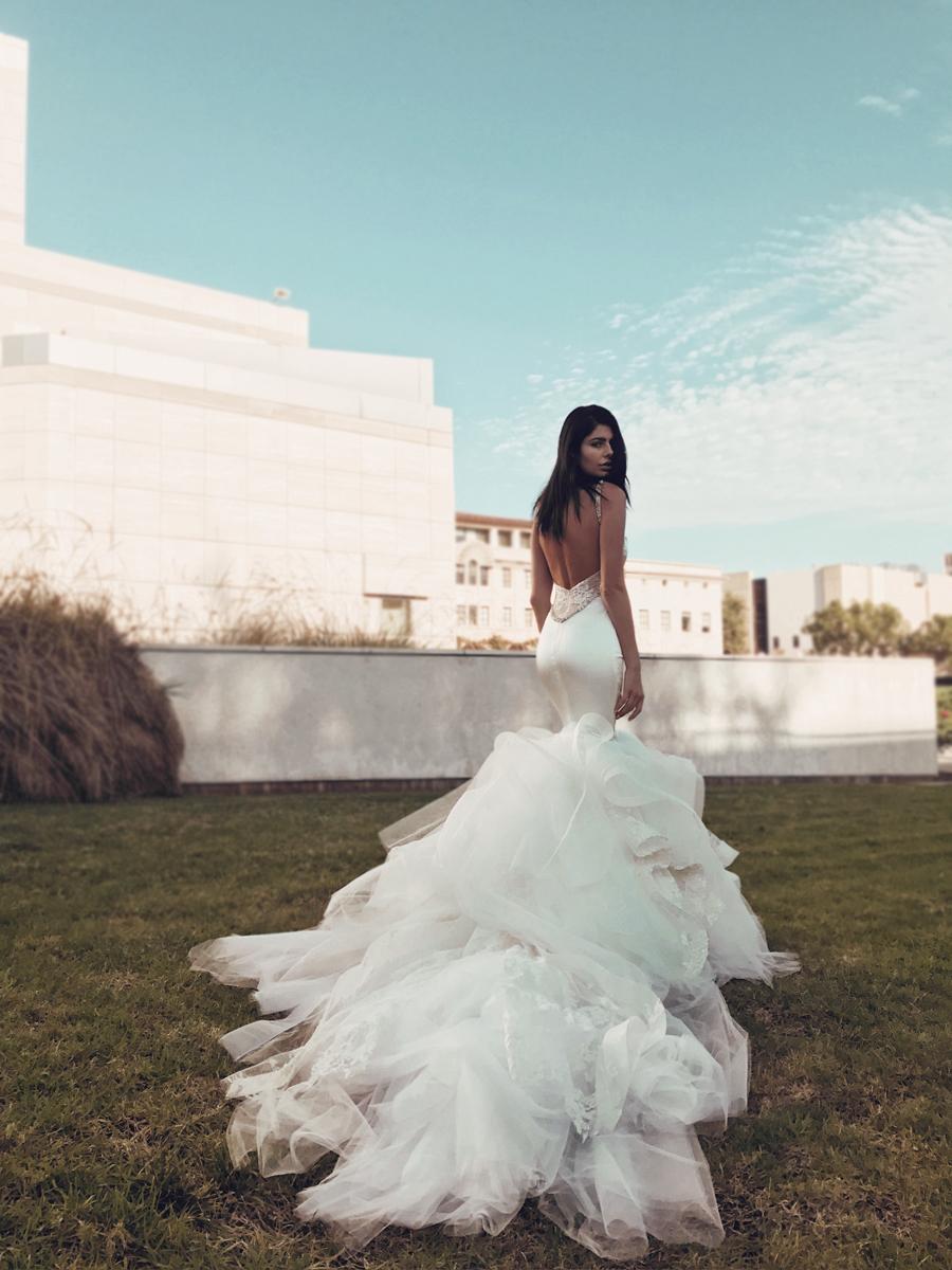 Lauren Elaine Epiphany satin mermaid wedding dress with detachable cathedral train