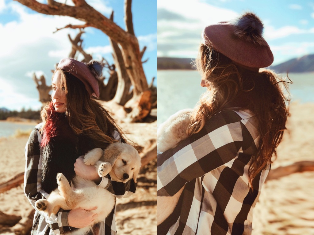 "Fashion Designer Lauren Elaine plays with new puppy ""Mojave"" in Big Bear Lake, California."