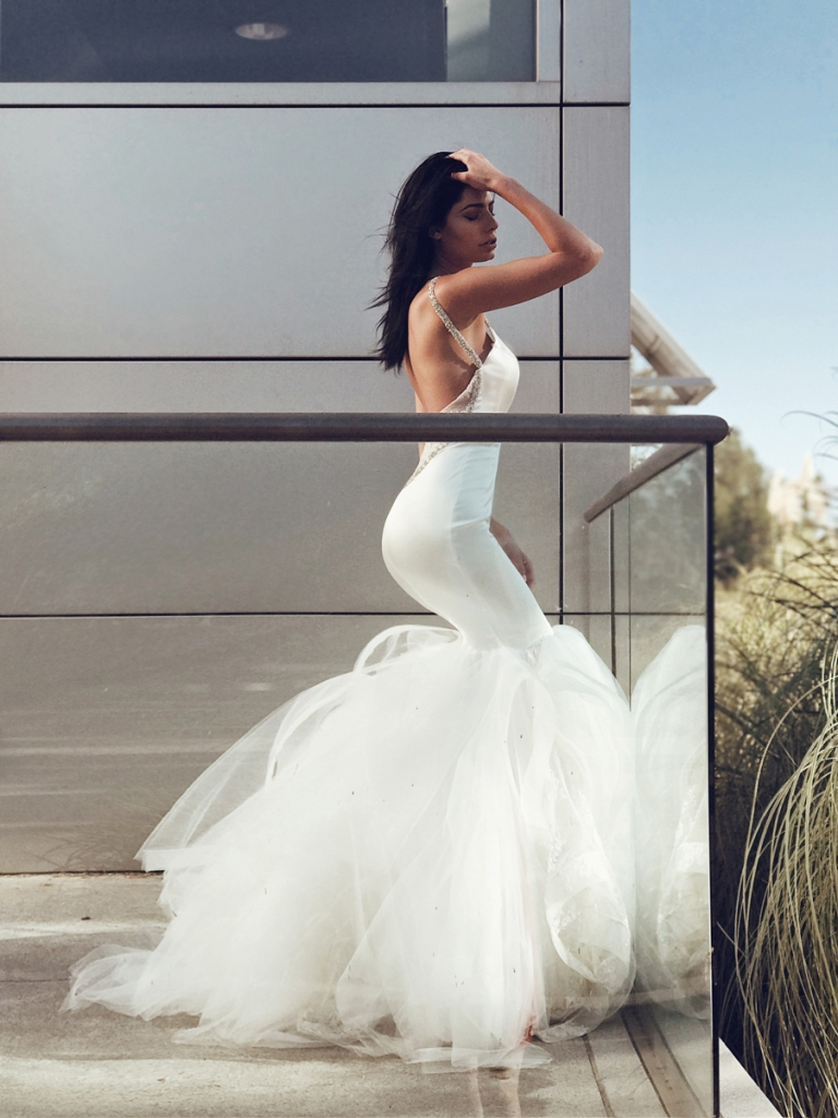 Lauren Elaine Epiphany satin mermaid wedding dress with crystal straps and detachable lace tulle cathedral train