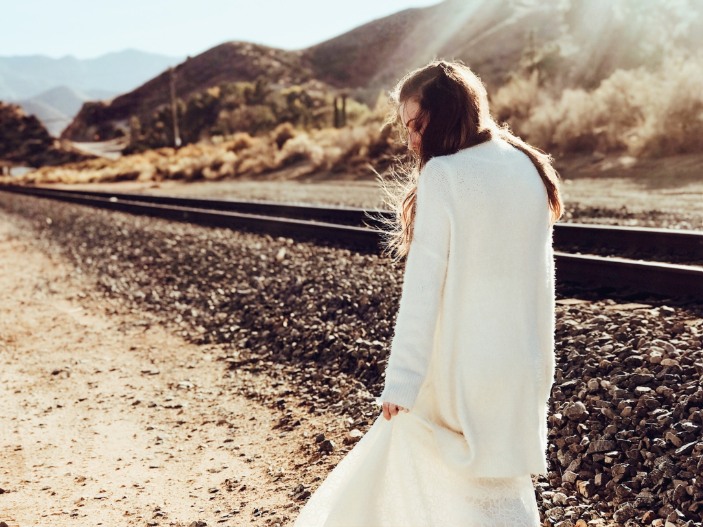 Fashion Designer Lauren Elaine wears a bohemian wedding gown in Los Angeles, CA