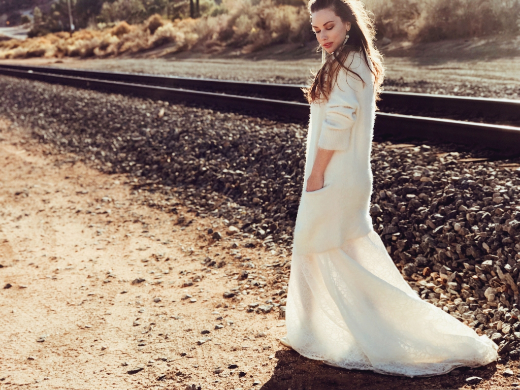 Cathedral trains on Lauren Elaine wedding dresses and bridal gowns.