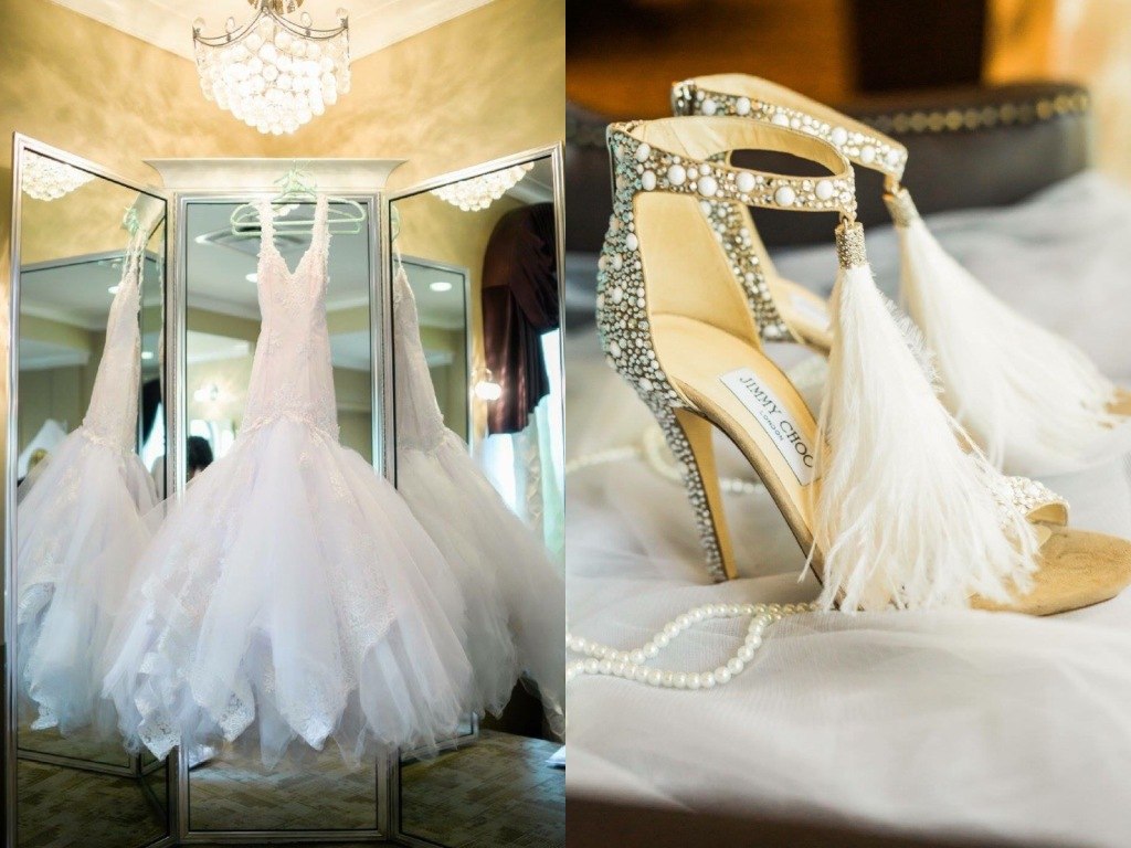 "A Lauren Elaine ""Arabelle"" gown hangs next to Jimmy Show bridal shoes before a wedding ceremony."
