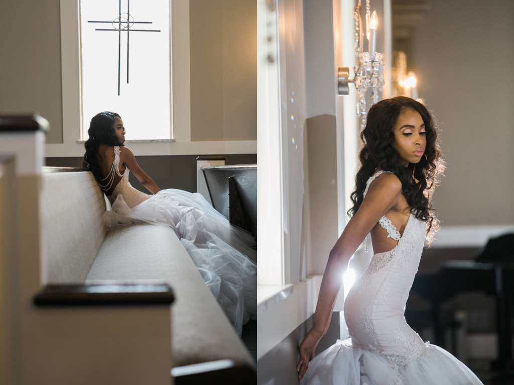 Bride Lakiska poses in a custom Lauren Elaine Arabelle gown.