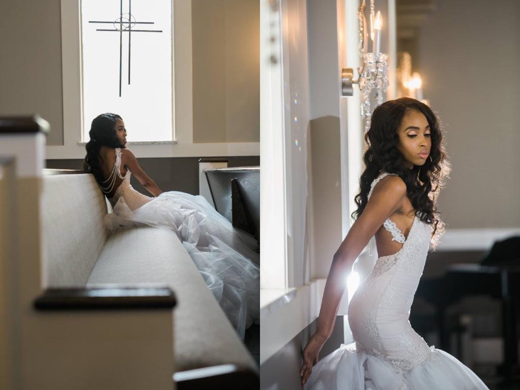 Bride Lakiska poses in a custom Lauren Elaine Arabelle gown.