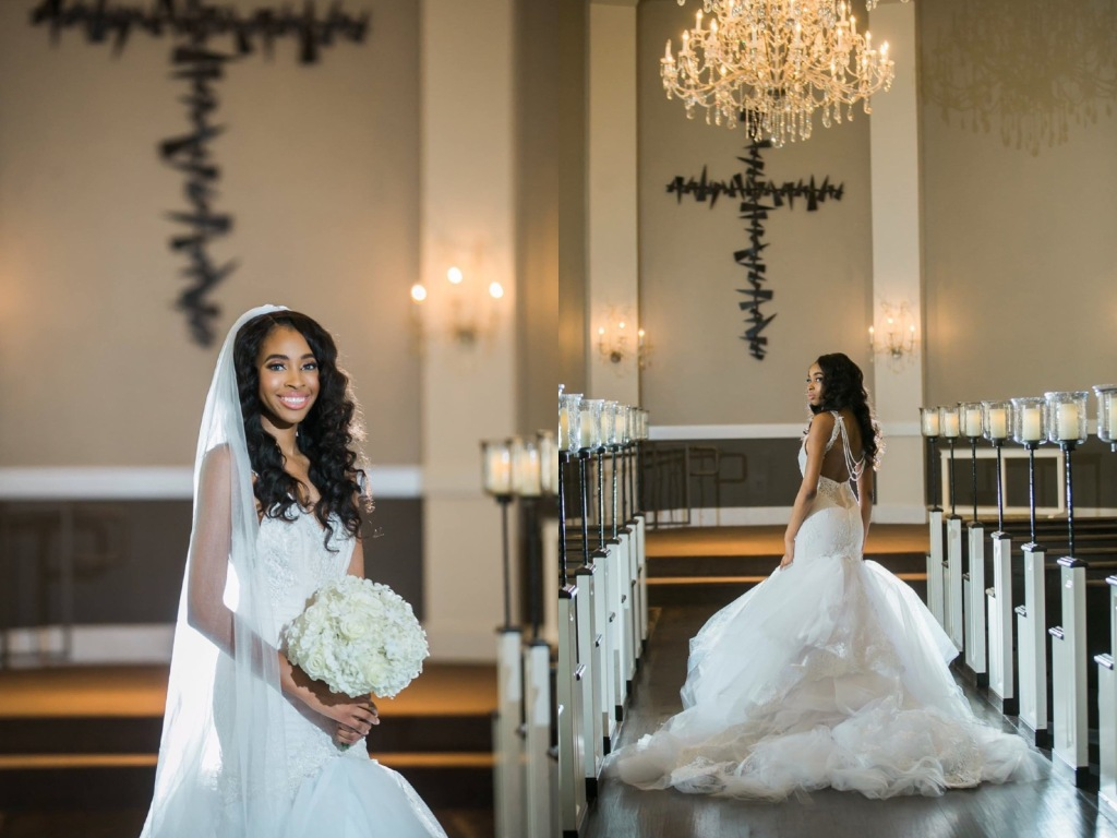 "Bride Lakiska poses in a custom Lauren Elaine ""Arabelle"" gown with detachable cathedral train."