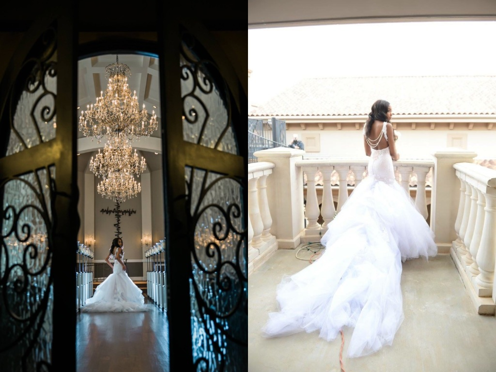 Bride Lakiska poses in a custom Lauren Elaine Arabelle mermaid wedding dress with detachable cathedral train.