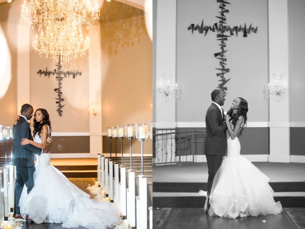 "Dallas Bride Lakiska says 'I Do' in a custom ""Arabelle"" mermaid wedding gown by Lauren Elaine Bridal"