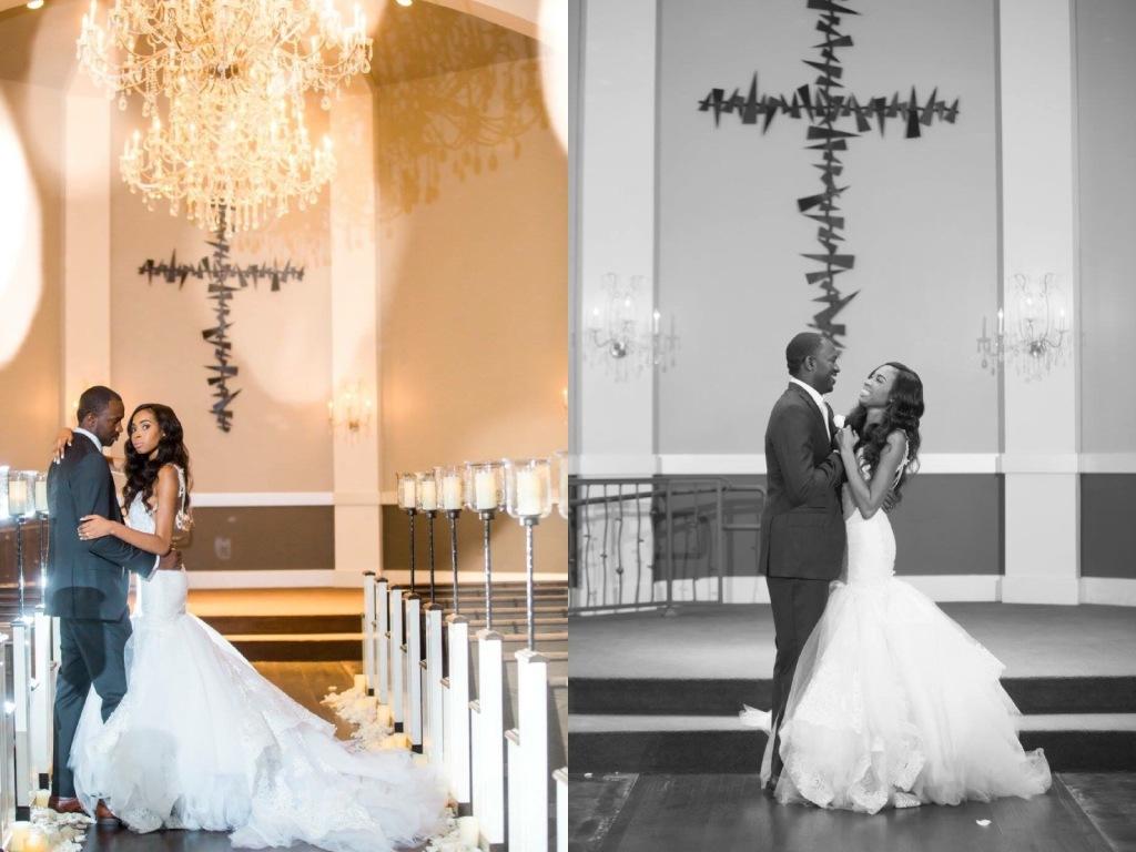 "Dallas Bride Lakiska says 'I Do' in a custom ""Arabelle"" mermaid wedding gown by Lauren Elaine Bridal"