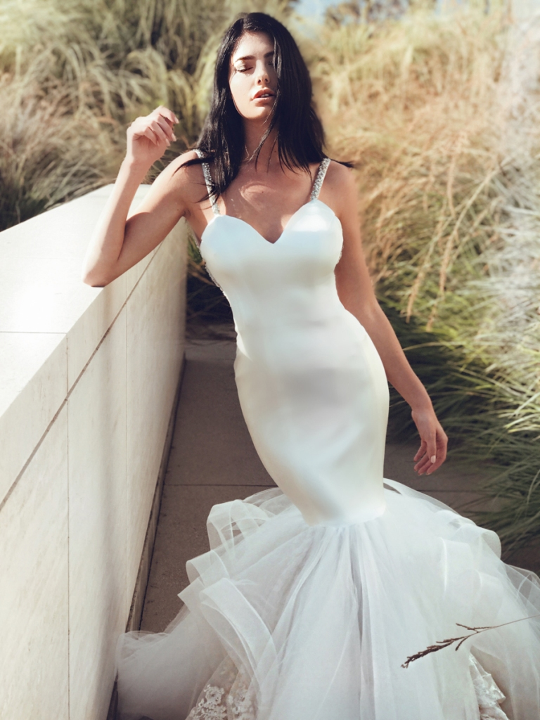 Lauren Elaine Epiphany satin mermaid wedding dress with crystal straps