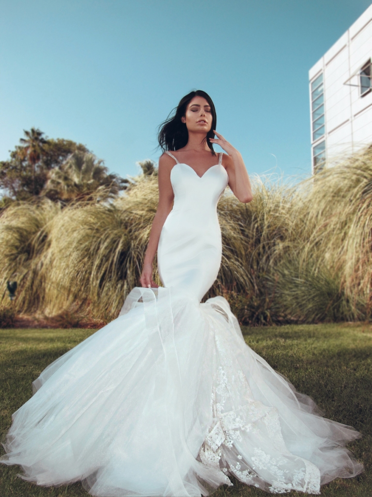 Sexy Lauren Elaine Epiphany satin mermaid wedding dress with dramatic tulle skirt and cathedral trail