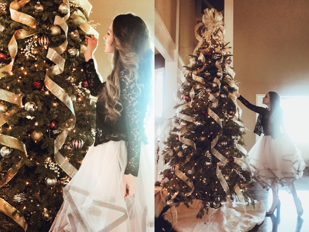 Fashion Designer Lauren Elaine decorates her Christmas tree at home in Los Angeles