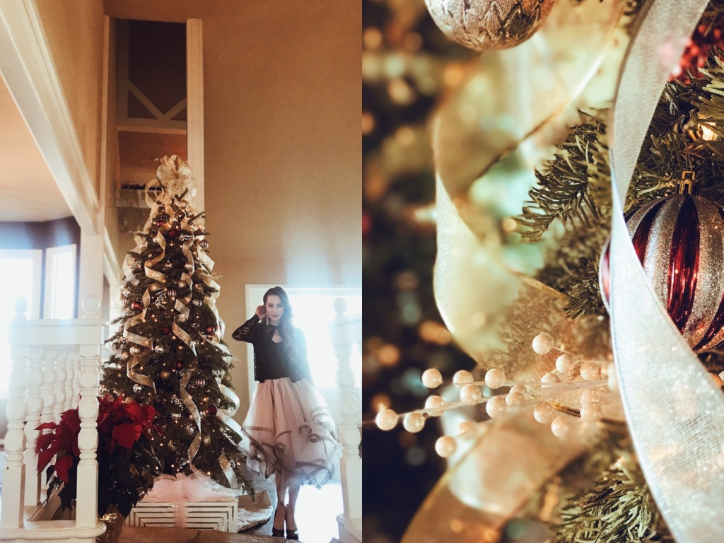 Fashion Designer Lauren Elaine poses in front of her 10ft Christmas tree at Home in Los Angeles