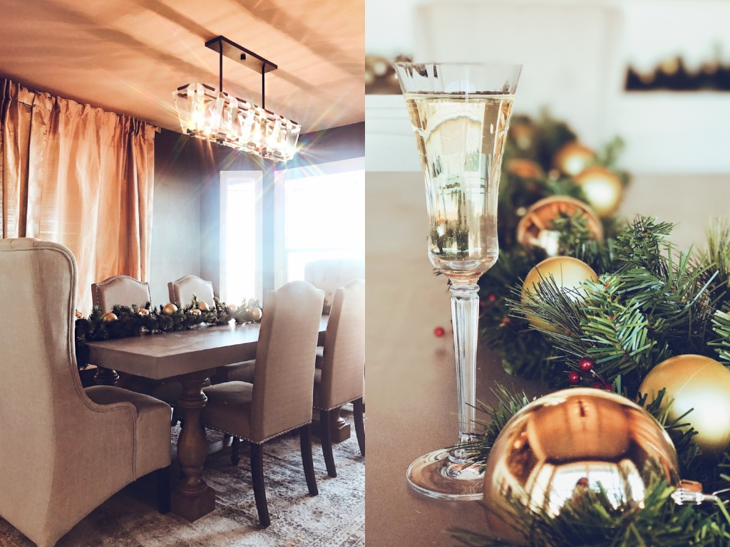 Holiday dining room decor with gold and silver garland