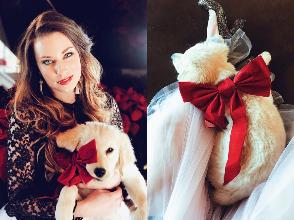 Fashion Designer Lauren Elaine poses for Christmas photos with her Golden Retriever puppy, Mojave at her home, Castle Vista.