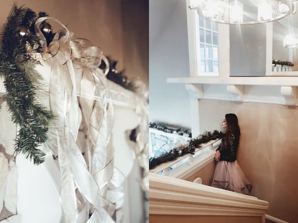Bridal Fashion Designer Lauren Elaine decorates her home for the Holidays in Los Angeles with gold and silver Christmas garland