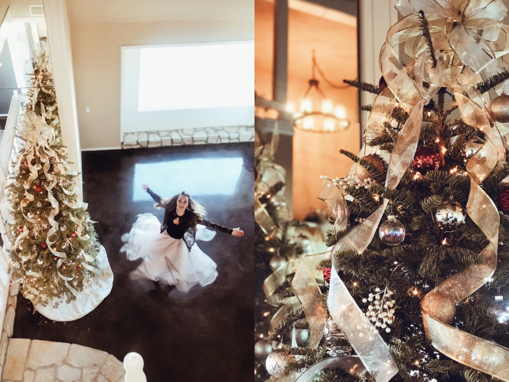 Fashion Designer Lauren Elaine takes a twirl in a blush pink tulle ball gown skirt next to her decorated Christmas Tree