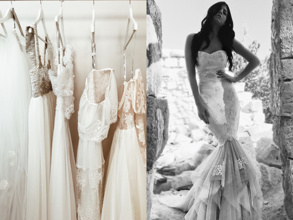 Affordable wedding dresses on display at the Lauren Elaine bridal salon in Los angeles