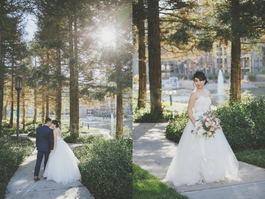 Bride Vicky wears a custom Lauren Elaine Magnolia ball gown wedding dress i