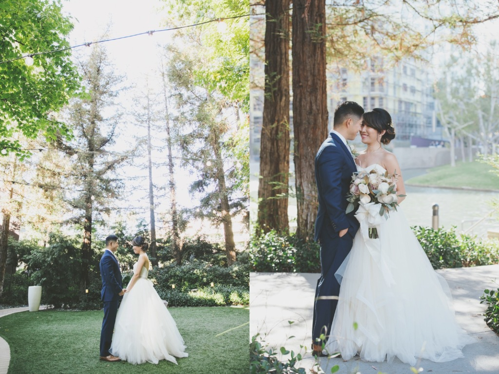 Bride Vicky wears a custom Lauren Elaine Magnolia ball gown wedding dress in Ivory with train