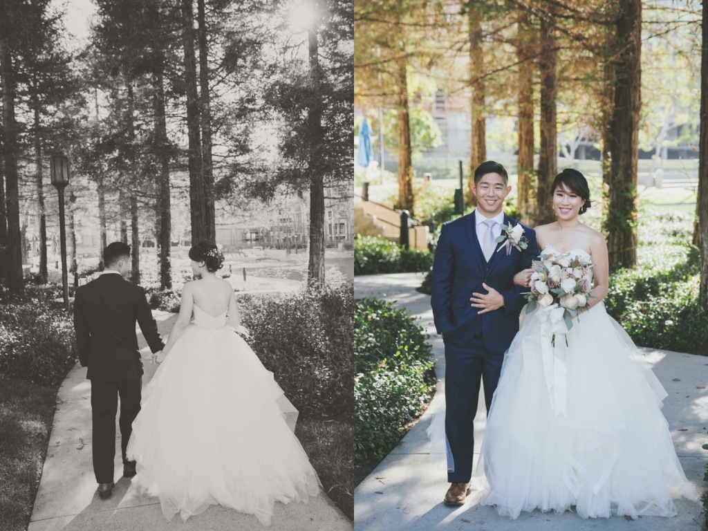 Bride Vicky wears a custom Lauren Elaine Magnolia ball gown wedding dress in Soft Ivory