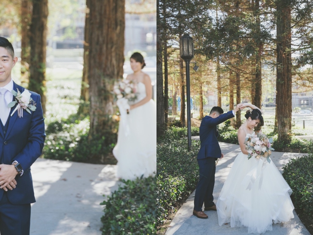 Bride Vicky wears a custom Lauren Elaine Magnolia ball gown wedding dress in Ivory
