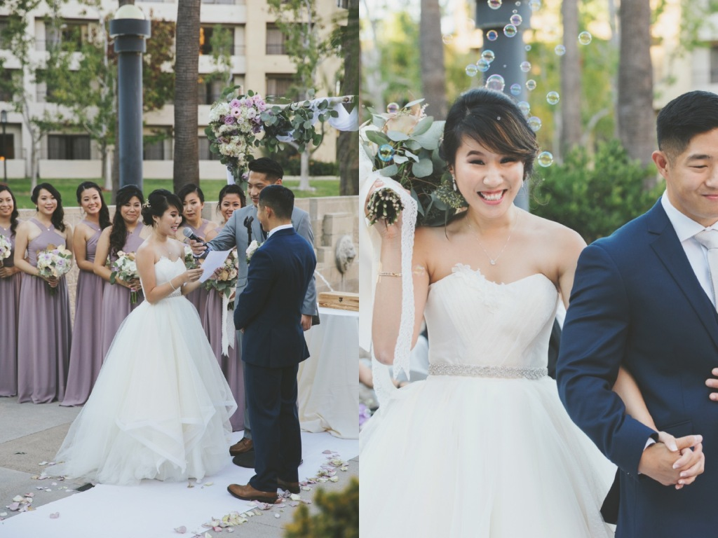 Bride Vicky wears a custom Lauren Elaine Magnolia gown at her Avenue of the Arts Wedding in CA