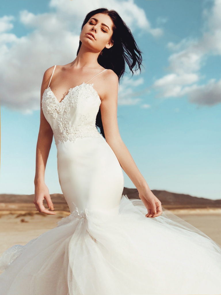 elysian mermaid wedding dress by lauren elaine bridal of los angeles