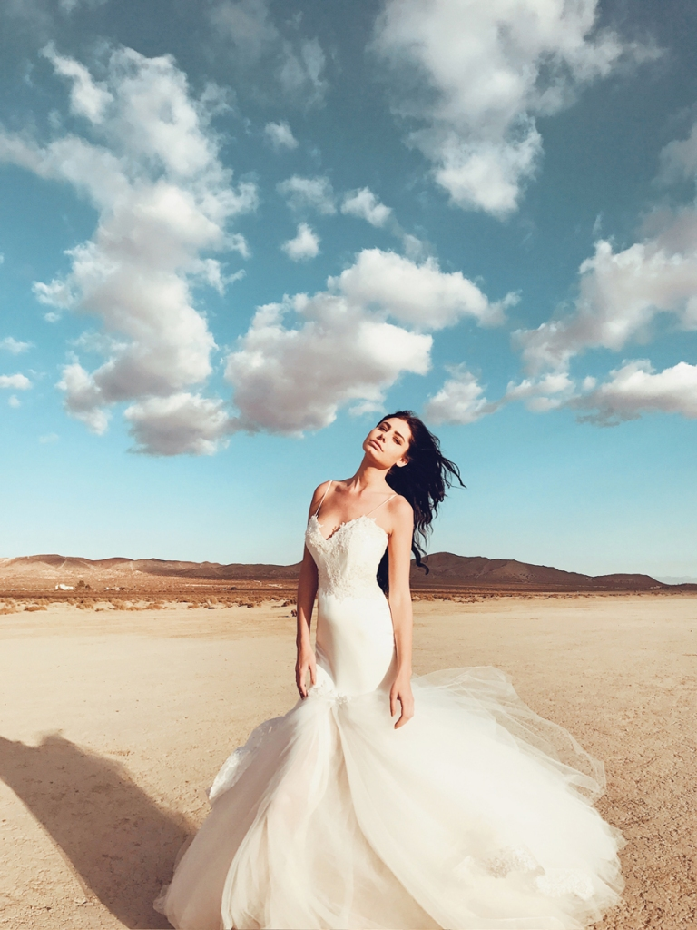 lauren elaine satin elysian mermaid wedding dress photographed at el mirage california