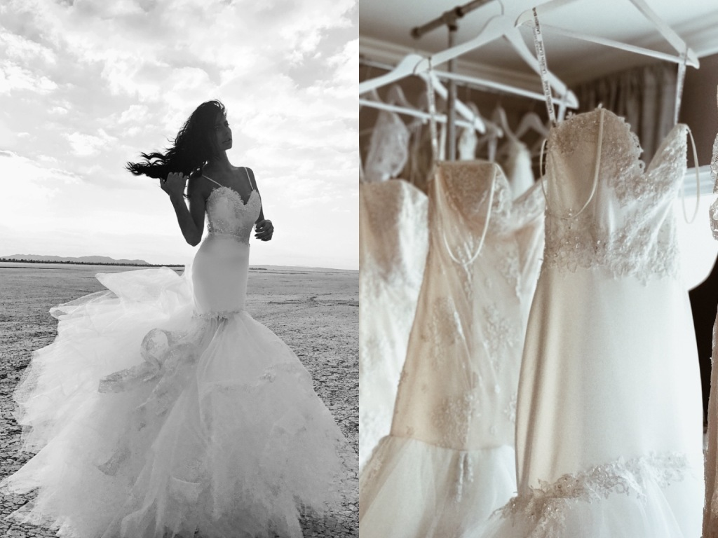 Satin mermaid wedding dresses on dispay at the Lauren Elaine Bridal salon in Los Angeles