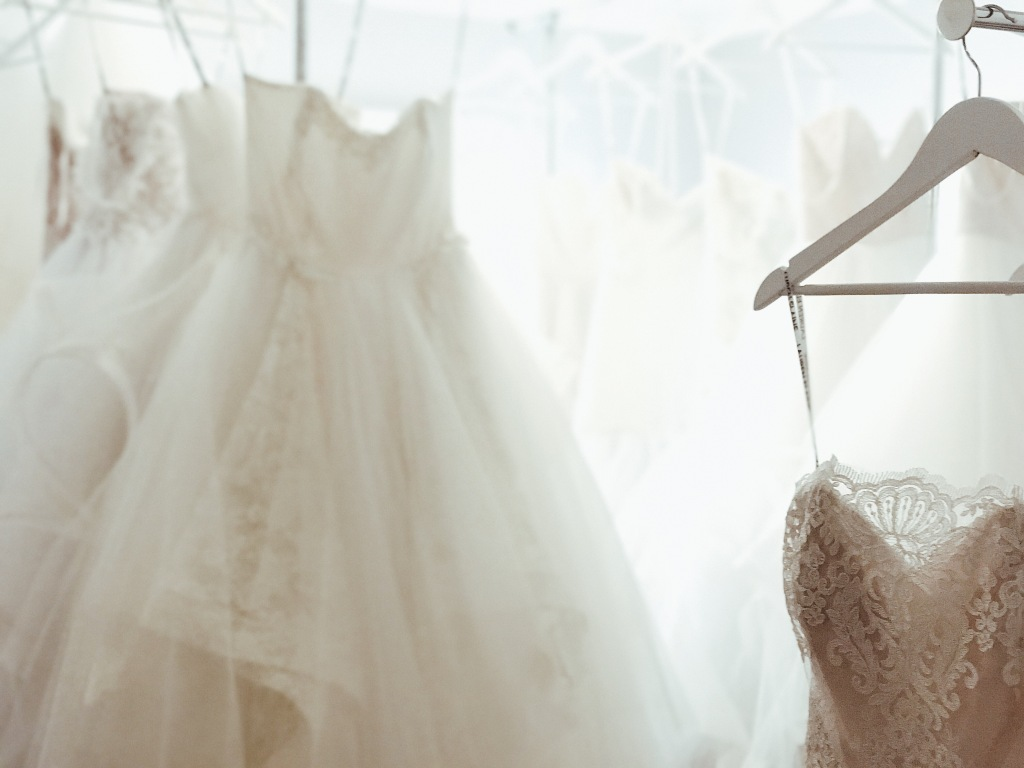 Wedding dresses on display at the Lauren Elaine bridal salon in Los Angeles, CA