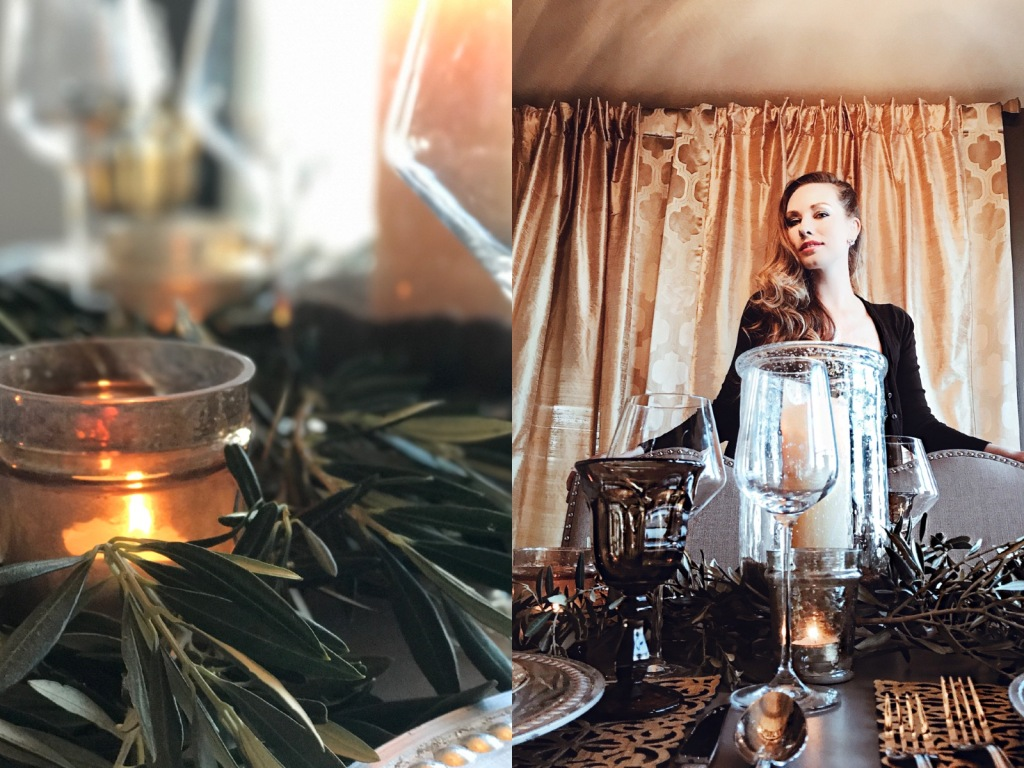 New Year's Eve tablescape decor with olive branches by Designer Lauren Elaine