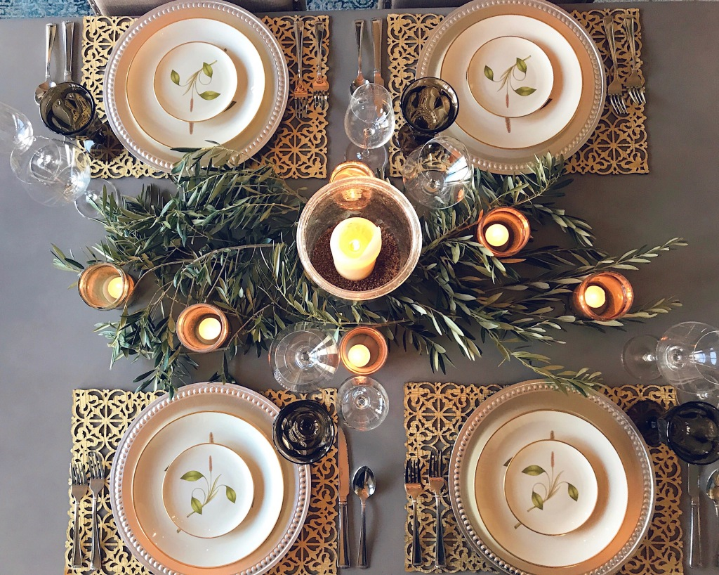 Olive branch tablescape and table setting by Designer Lauren Elaine