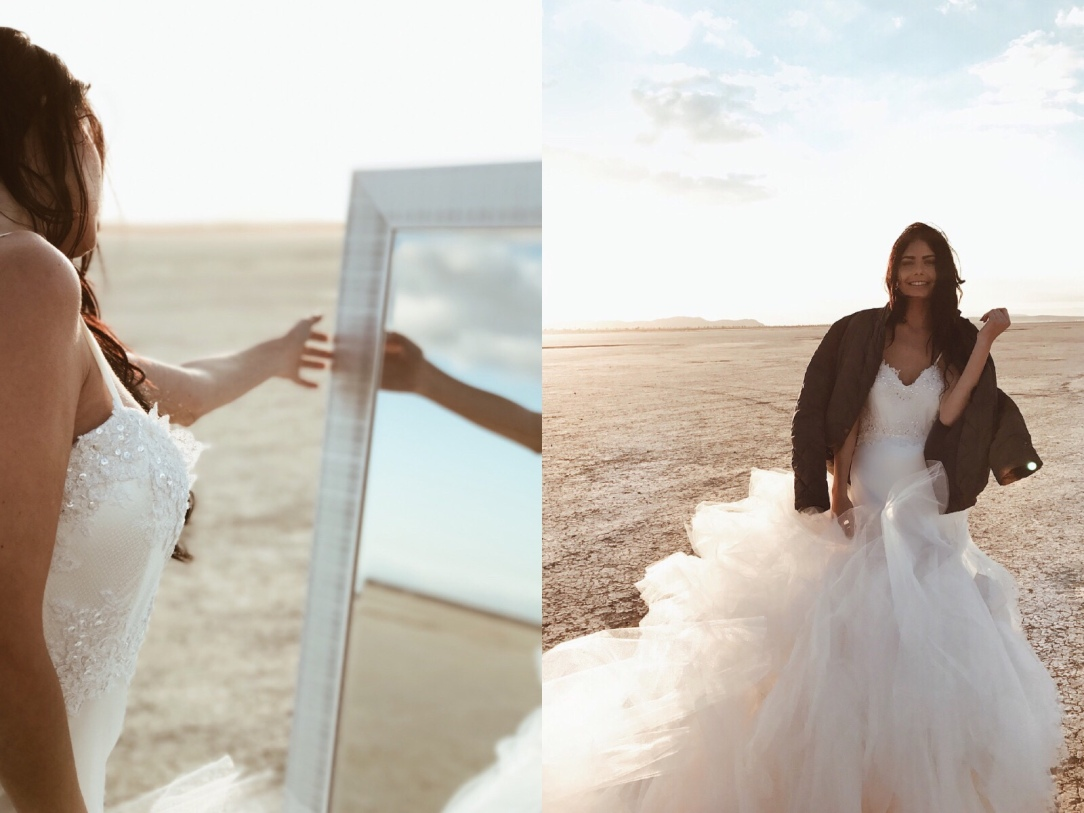 "On location shooting the ""Elysian"" gown by Lauren Elaine Bridal at El Mirage dry lake bed with model Sabyr Omens in California."