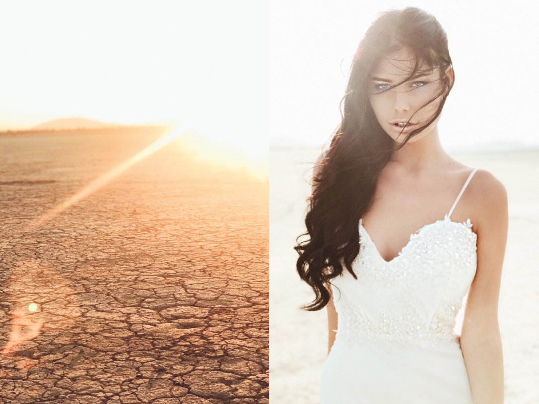"On location shooting the ""Elysian"" gown by Lauren Elaine Bridal at El Mirage dry lake bed in California"